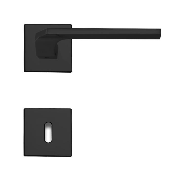Linea Cali Türdrücker Rosettengarnitur mit quadratischen Rosetten Giro Zincral schwarz matt BB