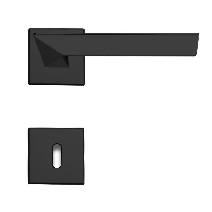 Linea Cali Türdrücker Rosettengarnitur mit quadratischen Rosetten Trio Zincral matt schwarz BB